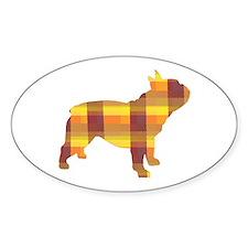 plaid french bulldog Oval Decal