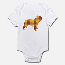 plaid french bulldog Infant Bodysuit
