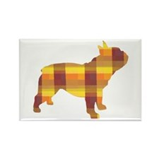 plaid french bulldog Rectangle Magnet