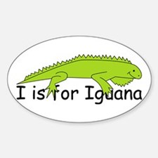 I is for Iguana Oval Decal