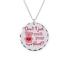Bear Heart Melt Necklace Circle Charm