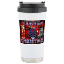 Red Tartan blue thistle Travel Mug