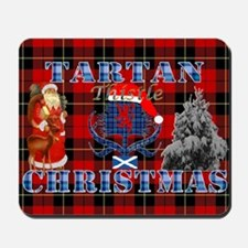 Red Tartan blue thistle Christmas design Mousepad