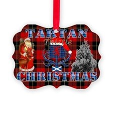 Red Tartan blue thistle Christmas Ornament