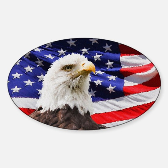 Patriotic Red White and Blue Sticker (Oval)