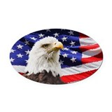 American eagle with flag Oval Car Magnets