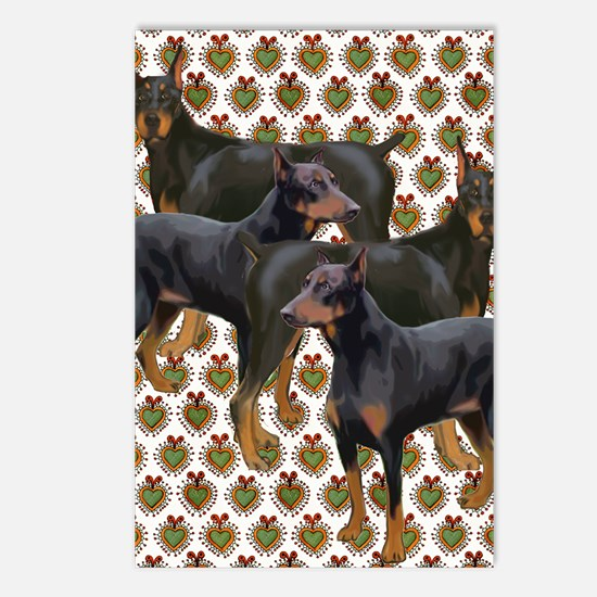 doberman grouping Postcards (Package of 8)