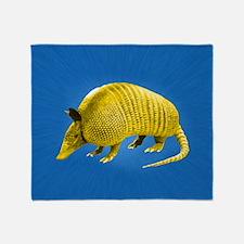 Yellow Armidillo on Blue Throw Blanket