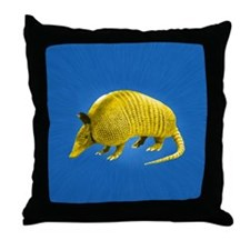 Yellow Armidillo on Blue Throw Pillow