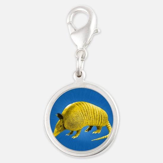 Yellow Armidillo on Blue Silver Round Charm