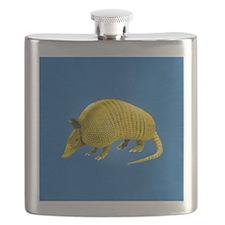 Yellow Armidillo on Blue Flask