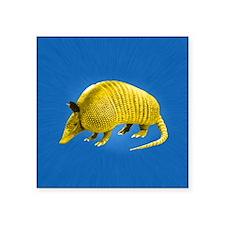 """Yellow Armidillo on Blue Square Sticker 3"""" x 3"""""""