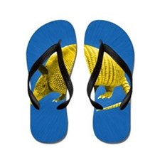 Yellow Armidillo on Blue Flip Flops