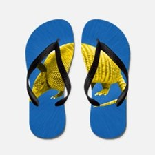 Yellow Armidillo on Blue Flip Flops