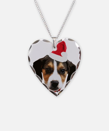 Beagle_Xmas_face005 Necklace Heart Charm