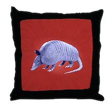 Purple Armadillo on Red Throw Pillow