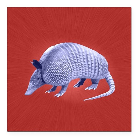"""Purple Armadillo on Red Square Car Magnet 3"""" x 3"""""""