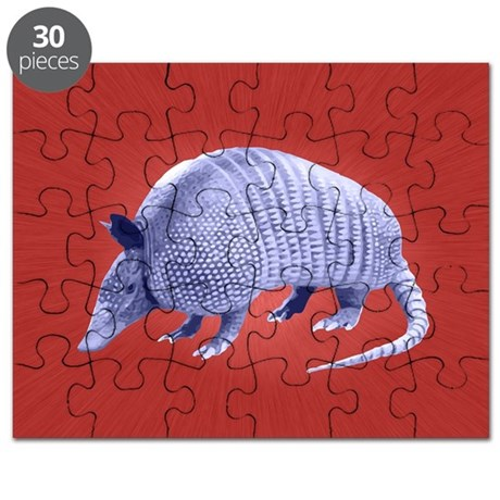 Purple Armadillo on Red Puzzle