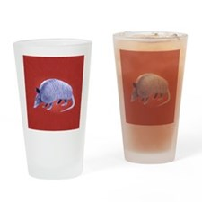 Purple Armadillo on Red Drinking Glass