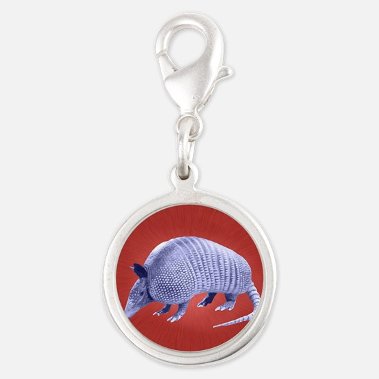 Purple Armadillo on Red Silver Round Charm