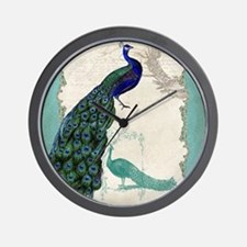 Vintage Peacock Etchings Scroll Swirl Watercolor W