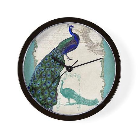 Marvelous Vintage Peacock Etchings Scroll Swirl Watercolor W