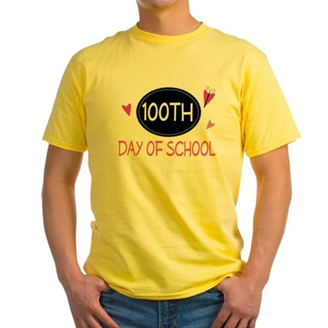 100th Day of School (pink) Yellow T-Shirt