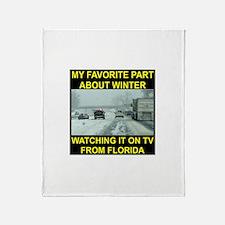 Watching It On TV In FLA Throw Blanket