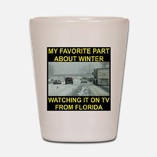 Watching It On TV In FLA Shot Glass