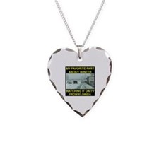 Watching It On TV In FLA Necklace Heart Charm