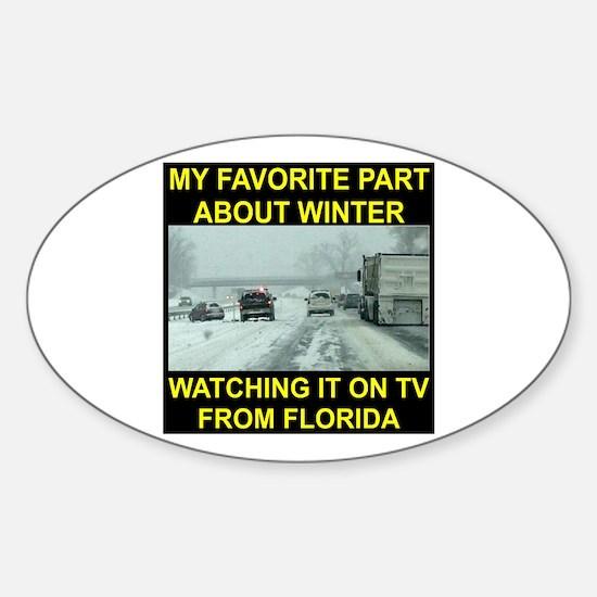 Watching It On TV In FLA Sticker (Oval)