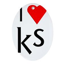 I heart KS Oval Ornament