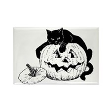 Black Cat on Pumpkin Rectangle Magnet