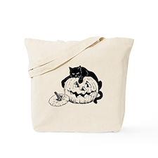 Black Cat on Pumpkin Tote Bag