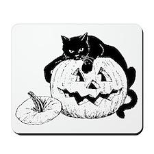Black Cat on Pumpkin Mousepad