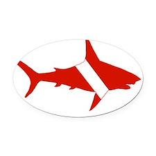 Shark Scuba Diver Silhouette Oval Car Magnet