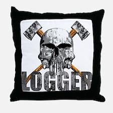 Logger Skull Throw Pillow