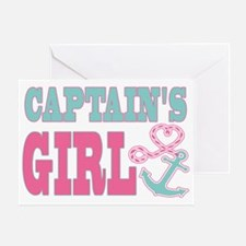 Captains Girl Boat Anchor and Heart Greeting Card