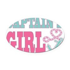 Captains Girl Boat Anchor and Hear Oval Car Magnet