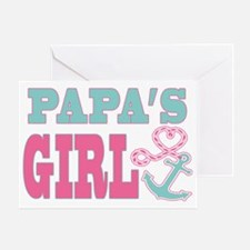 Papas Girl Boat Anchor and Heart Greeting Card