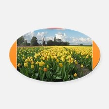 Holland Windmill and Tulips Oval Car Magnet