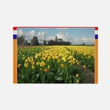 Holland Windmill and Tulips Rectangle Magnet