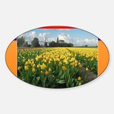 Holland Windmill and Tulips Sticker (Oval)