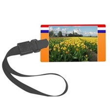 Holland Windmill and Tulips Luggage Tag