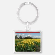 Holland Windmill and Tulips Landscape Keychain