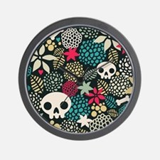 Skulls and Flowers Wall Clock