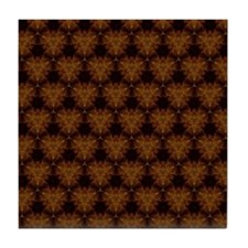 Abstract Brown and Gold Tile Coaster