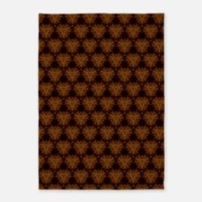 Abstract Brown and Gold 5'x7'Area Rug