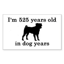 75 birthday dog years pug 2 Decal