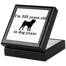 75 birthday dog years pug 2 Keepsake Box